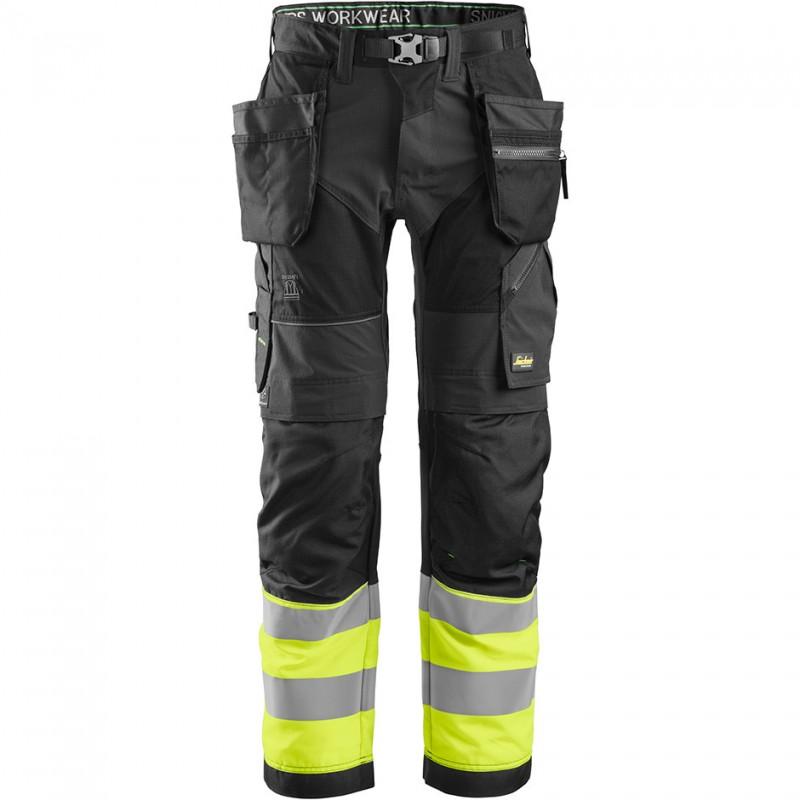 Pantalon FlexiWork haute visibilité avec poches holster, Classe 1 6931 Snickers